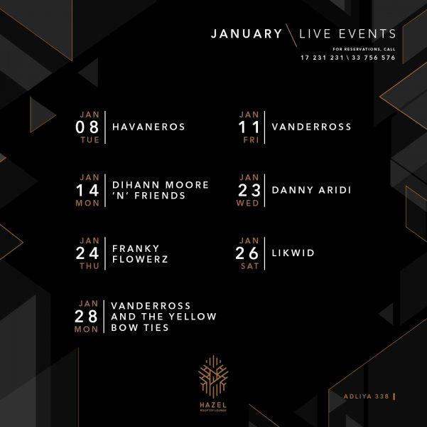 Hazel Rooftop Lounge- January Live Acts
