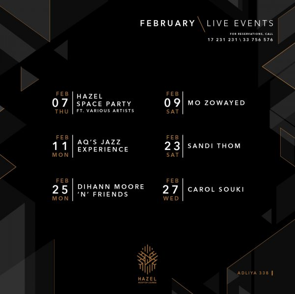 Hazel Rooftop Lounge - February Live Events