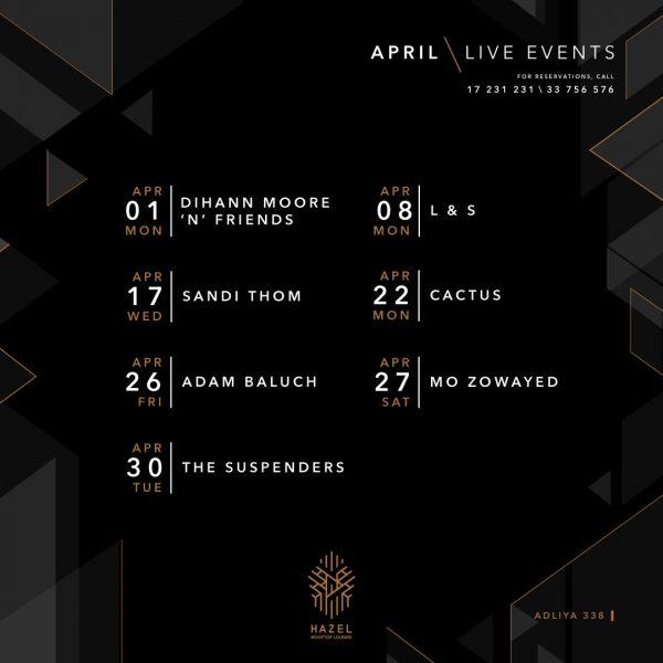 Hazel Rooftop Lounge - April Live Acts