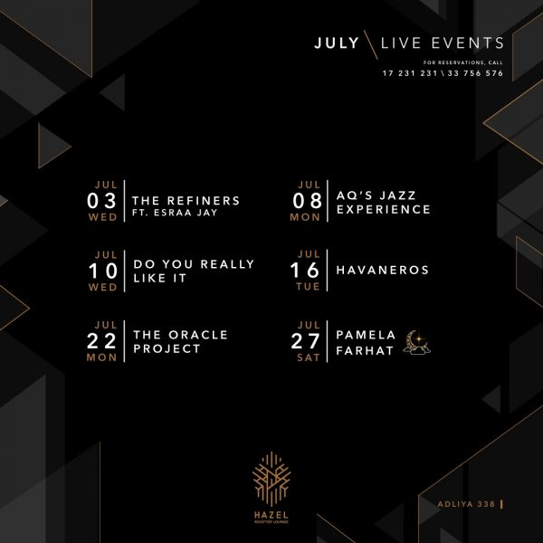 Hazel Rooftop Lounge - July Live Acts