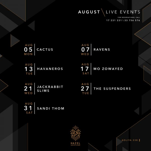 Hazel Rooftop Lounge - August Live Acts