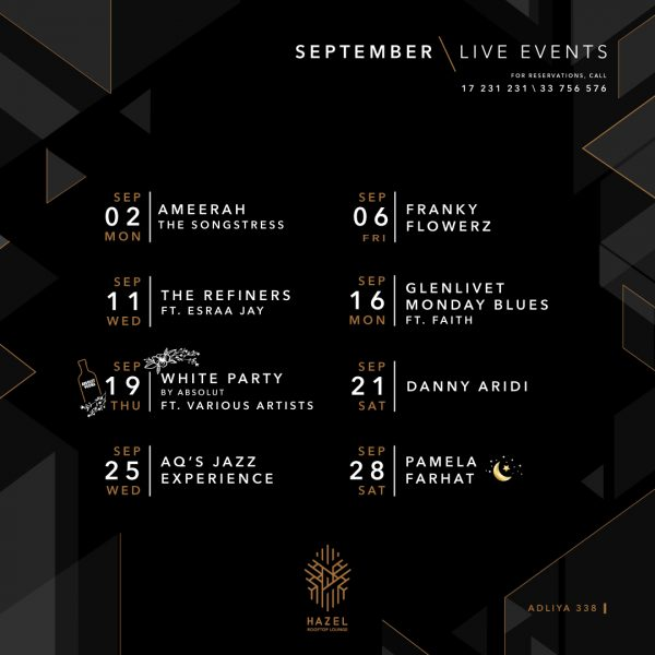 Hazel Rooftop Lounge - September Live Events
