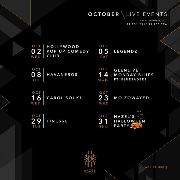 Hazel Rooftop Lounge - October Live Acts