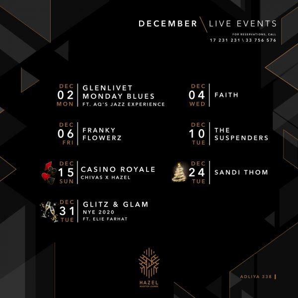 Hazel Rooftop Lounge - Live Acts - December 2019