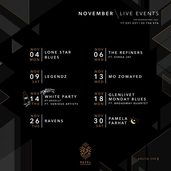Hazel Rooftop Lounge - November Live Events