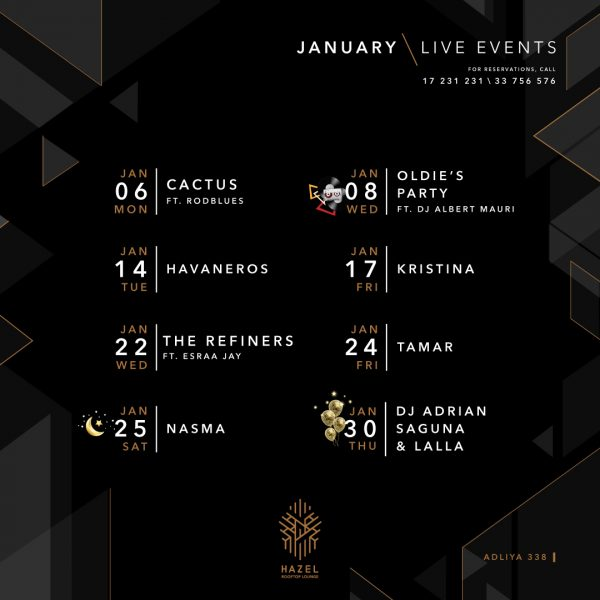 Hazel Rooftop Lounge - January 2020 Live Events