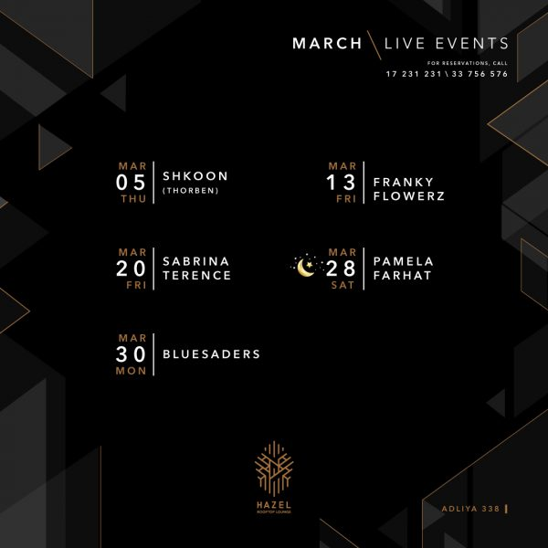 Hazel Rooftop Lounge - March 2020 Live Events